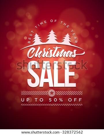 Vector Christmas Sale typographic design. - stock vector