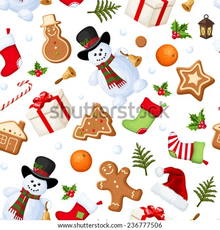Vector Christmas seamless background with snowmen, socks, Santa hats, holly, boxes, cookies, oranges, snowballs, candy canes and fir branches. - stock vector