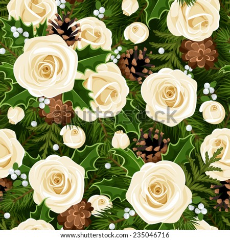 Vector Christmas seamless background with white roses, fir branches, holly, mistletoe and cones.