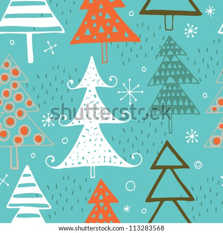 Vector Christmas seamless pattern with christmas trees