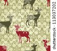 vector Christmas  seamless vintage wallpaper pattern with falling snowflakes and deers, fully editable eps 8 file with clipping mask and patterns in swatch menu - stock vector