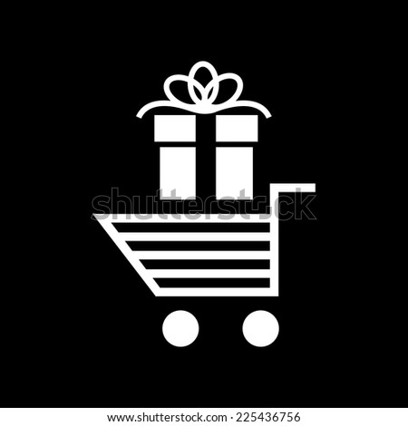 Vector christmas shopping cart icon | white flat design pictogram isolated on black background - stock vector