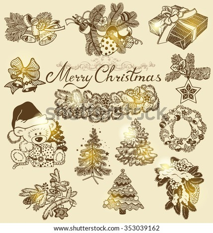 Vector Christmas silhouettes for decor or stickers - stock vector