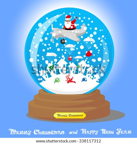 Vector Christmas Snow Globe: Santa Claus as skydiver with big bag gifts and Xmas tree on blue gradient background - stock vector