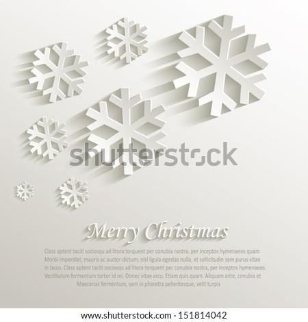 vector christmas snowflake natural paper 3D - stock vector