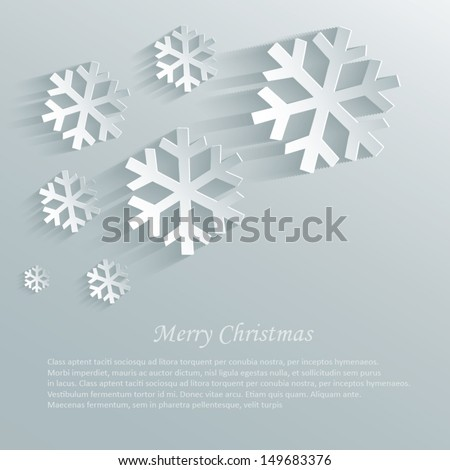 vector christmas snowflake paper 3D sky  - stock vector