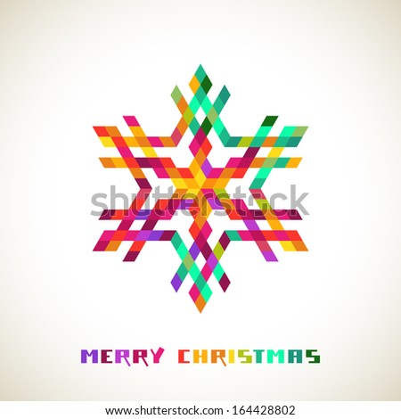 Vector christmas sparkling snowflake made from color rhombuses, greeting inscription. Original elegant simple design element. Abstract decorative illustration in geometric style for print, web - stock vector