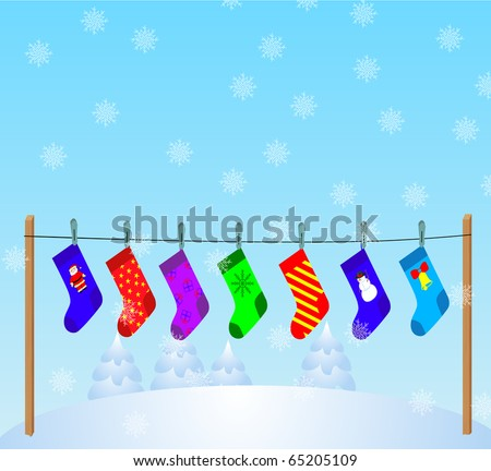 Vector Christmas Stockings hanging on a rope, on winter landscape background