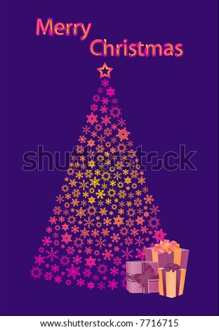 vector christmas tree and gifts
