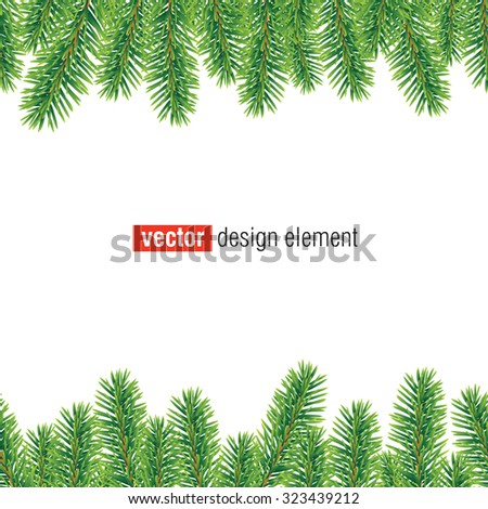 vector christmas tree border, seamless horizontally - stock vector