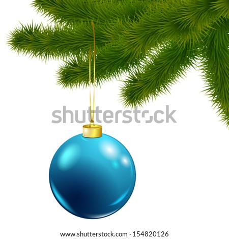 Vector Christmas tree branch with blue ball isolated on white