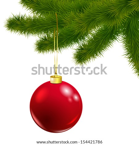 Vector Christmas tree branch with red ball isolated on white   - stock vector