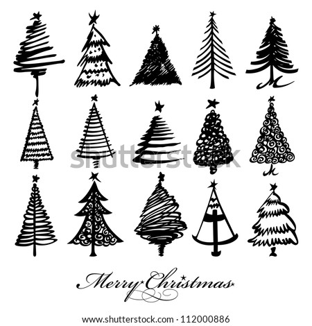 Vector christmas tree design set - stock vector