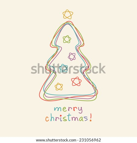 Vector christmas tree. Doodle hand drawn sign. Greeting, invitation card. Childish illustration for print, web - stock vector