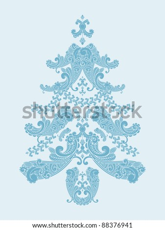 vector christmas tree from paisley elements  in blue - stock vector