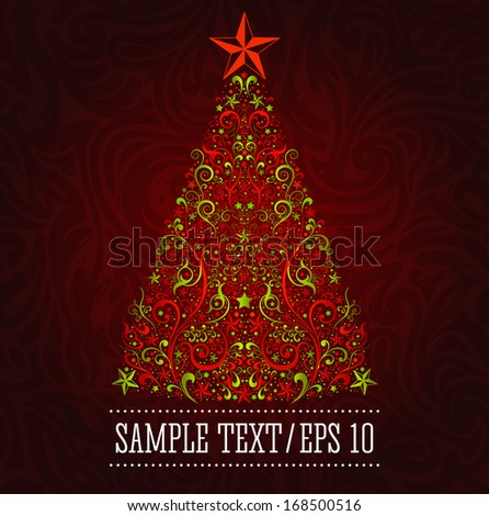 Vector Christmas tree, Graphic elegant Christmas card template - EPS 10 - stock vector