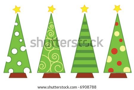 vector christmas tree isolated - stock vector