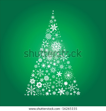 Vector Christmas tree made from snowflakes on a green background - stock vector