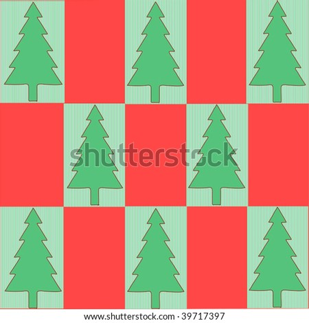 Vector Christmas Tree Seamless Background