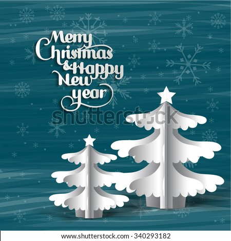 Vector Christmas tree / Simple vector Christmas tree made from origami paper / Origami Christmas tree greeting card / Christmas Card or Cover Template Design with Merry Christmas Text - stock vector