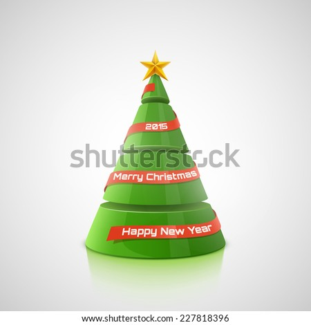 Vector Christmas tree with red ribbon, star and place for text. - stock vector