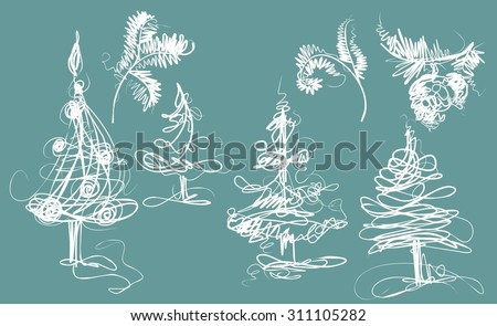 VECTOR Christmas trees and branches. - stock vector