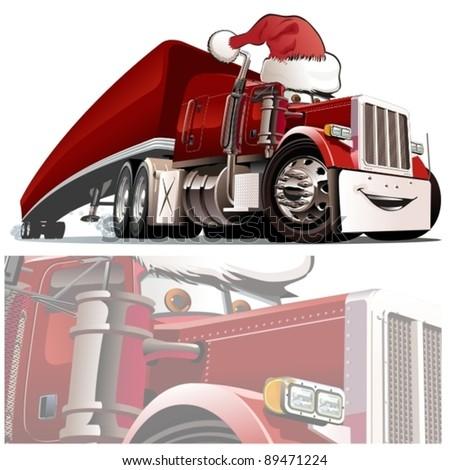 Vector Christmas truck - stock vector