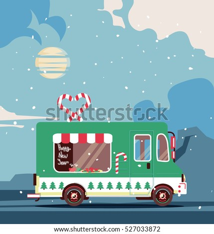 Vector christmas van flat illustration. Retro vintage happy new year car with landscape