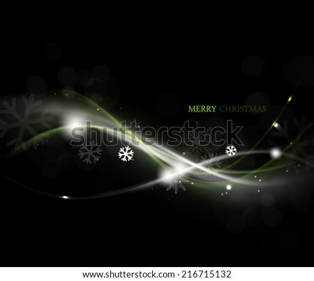 Vector Christmas Wave Glow Background - stock vector