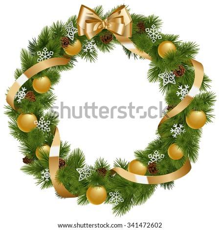 Vector Christmas Wreath with Golden Decorations - stock vector