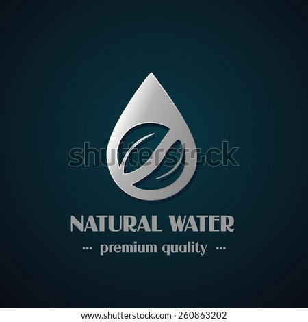 Vector chrome drop symbol with leaf on dark background, natural label for mineral water - stock vector