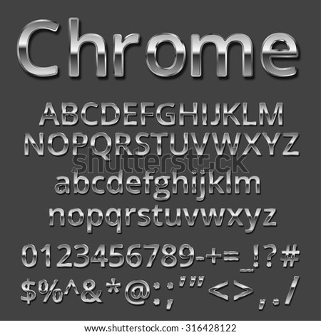 Vector Chrome or Silver metallic font set. Uppercase and lowercase letters, numbers and symbols - stock vector