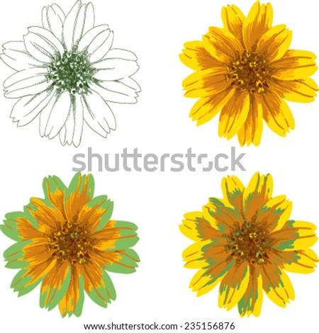 Vector chrysanthemum suit case - stock vector
