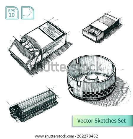 Vector cigarette sketch set. Illustration for your design - stock vector