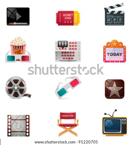 Vector cinema and watching movie icon set - stock vector