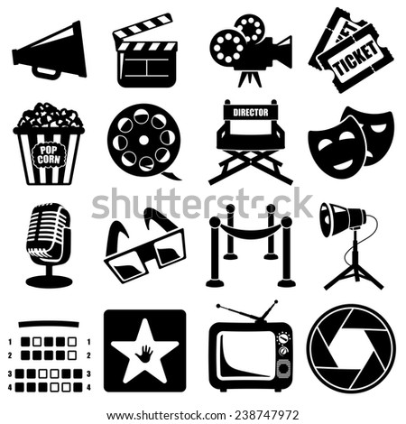 Vector cinema icon set black on white background - stock vector