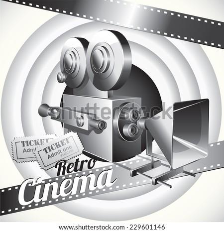 Vector cinema poster in retro black white style. - stock vector