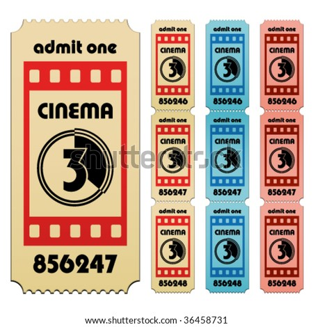 vector cinema tickets - stock vector
