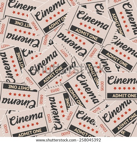 Vector cinema tickets vintage for background and pattern in retro style
