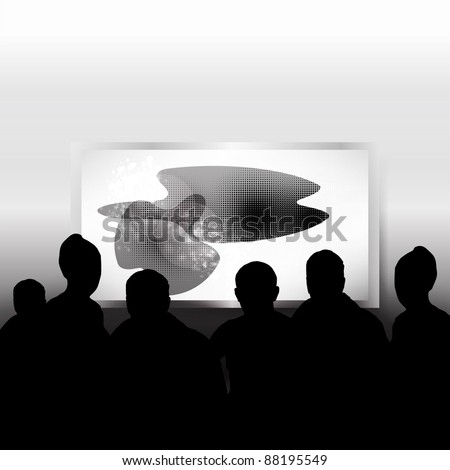 Vector Cinema with people - stock vector
