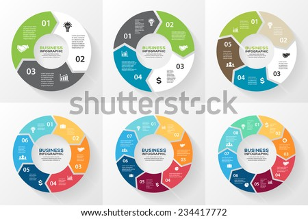 Vector circle arrows for infographic. Template for cycling diagram, graph, presentation and round chart. Business concept with 3, 4, 5, 6, 7, 8 options, parts, steps or processes. Abstract background.