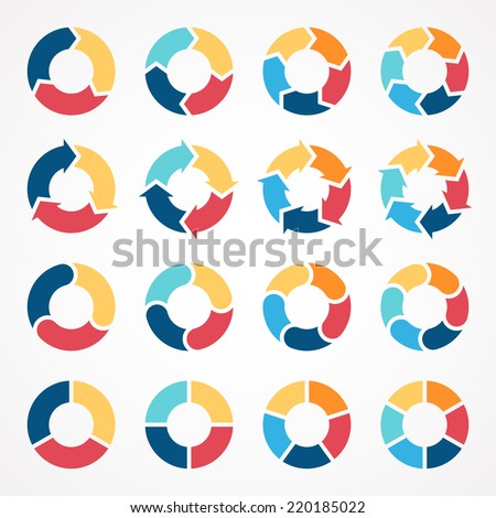 Vector circle arrows set for infographic. Template for diagram, graph, presentation and chart. Business concept with 3, 4, 5, 6 options, parts, steps or processes. Abstract background. - stock vector