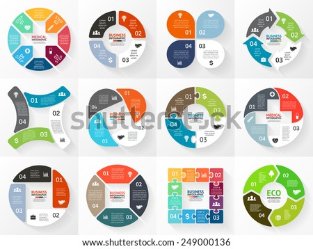 Vector circle arrows stripe infographics set. Template for cycle diagram, graph, presentation and round chart. Business concept with 4 options, parts, steps or processes. Marketing data brochure. - stock vector