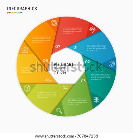 Vector circle chart infographic template 7 imagem vetorial de banco vector circle chart infographic template 7 options steps parts ccuart Images