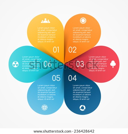 Vector circle color leaves infographic. Template for diagram, graph, presentation and chart. Business concept with 6 options, parts, steps or processes. Abstract background. - stock vector