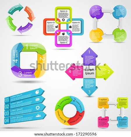 Vector circle 3D infographics set. Template for diagram, graph, presentation and chart. Business concept with four options, parts, steps or processes. Abstract background. - stock vector