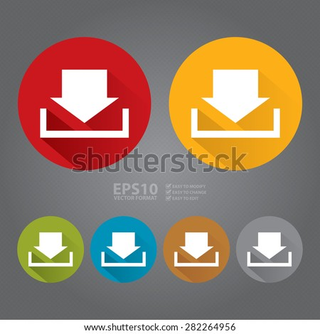 Vector : Circle Download Long Shadow Style Icon, Label, Sticker, Sign or Banner - stock vector