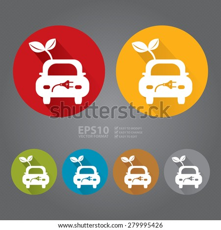 Vector : Circle Eco Car Long Shadow Style Icon, Label, Sticker, Sign or Banner - stock vector