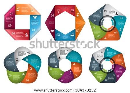Vector Arrows Pentagon Circles Other Elements Stock Vector
