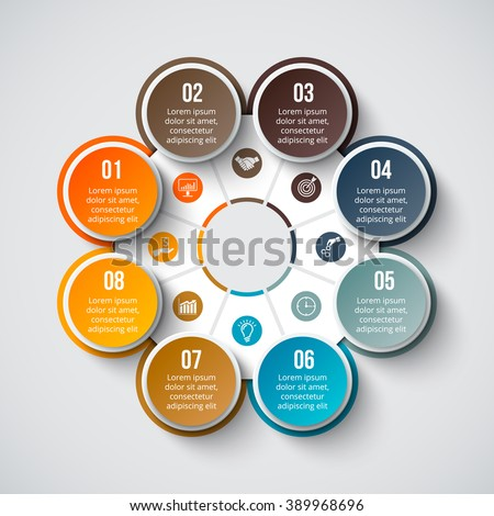 Vector circle element for infographic. Template for cycle diagram, graph, presentation and round chart. Business concept with 8 options, parts, steps or processes. Abstract background. - stock vector